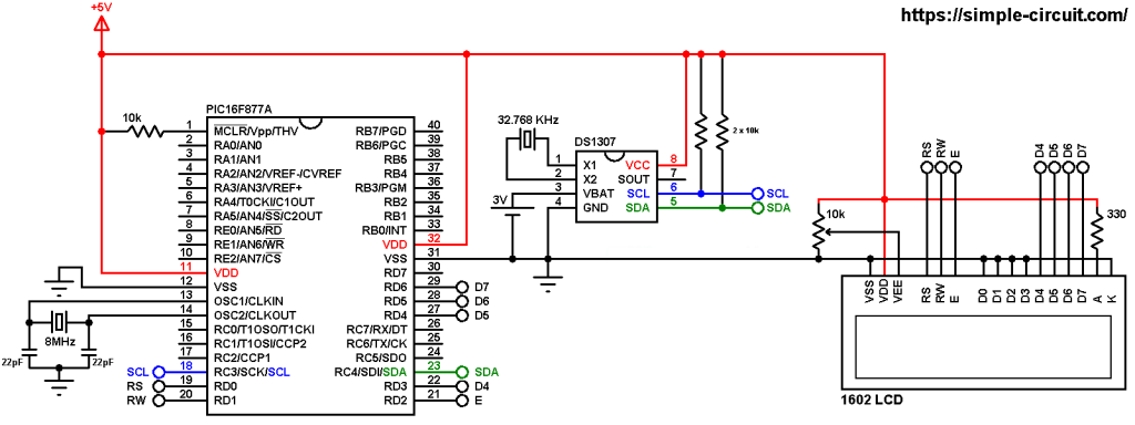DS1307 with PIC16F877A microcontroller and LCD circuit
