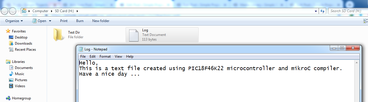 PIC18F46K22 Interface with SD card - Write & read files