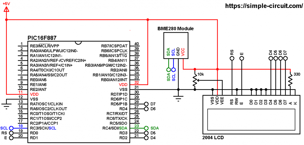 PIC16F887 BME280 I2C sensor and 20x4 LCD interfacing circuit