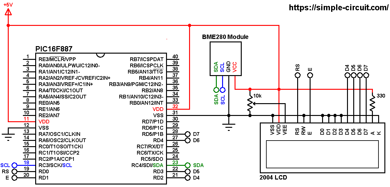 PIC MCU with BME280 pressure, temperature and humidity sensor