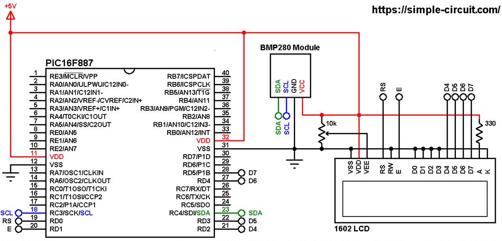 PIC16F887 BMP280 sensor and LCD circuit