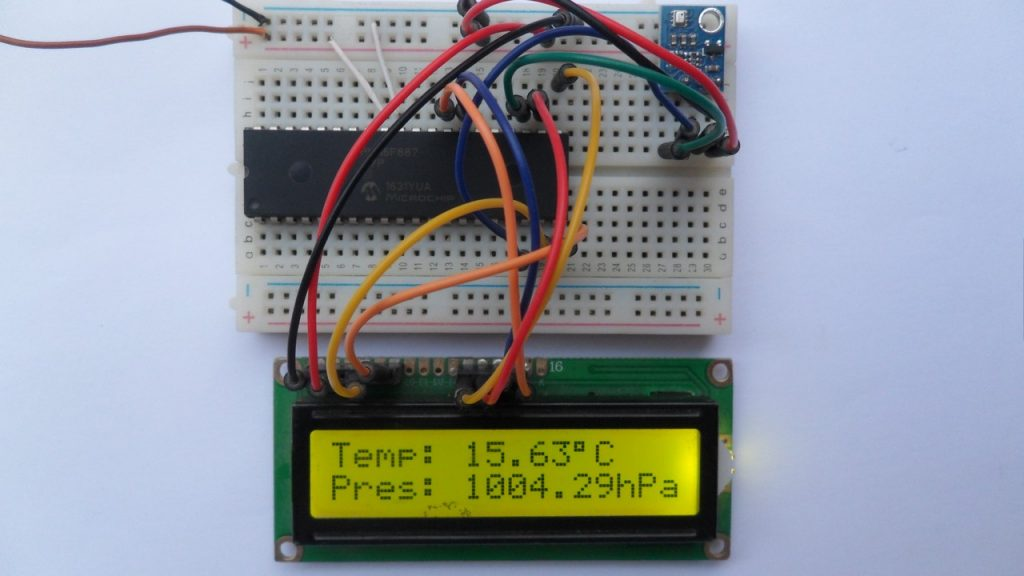 PIC16F887 with BMP280 temperature & pressure sensor and 16x2 LCD