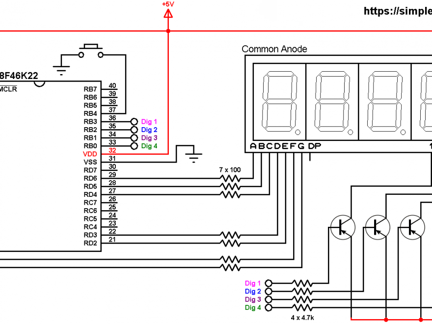 PIC18F46K22 7-segment display counter circuit