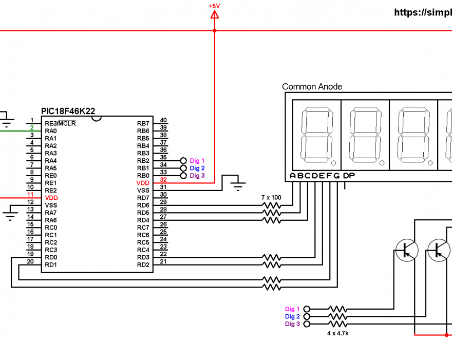 PIC18F46K22 LM335 7-segment display