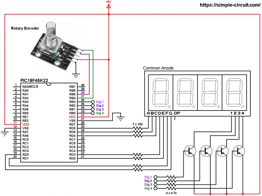 PIC18F46K22 rotary encoder 7-segment display circuit