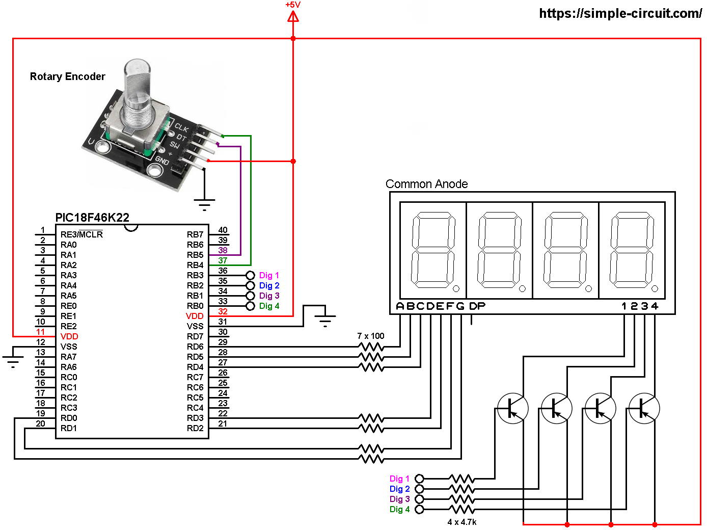 Print rotary encoder values on 7-segment display with ...