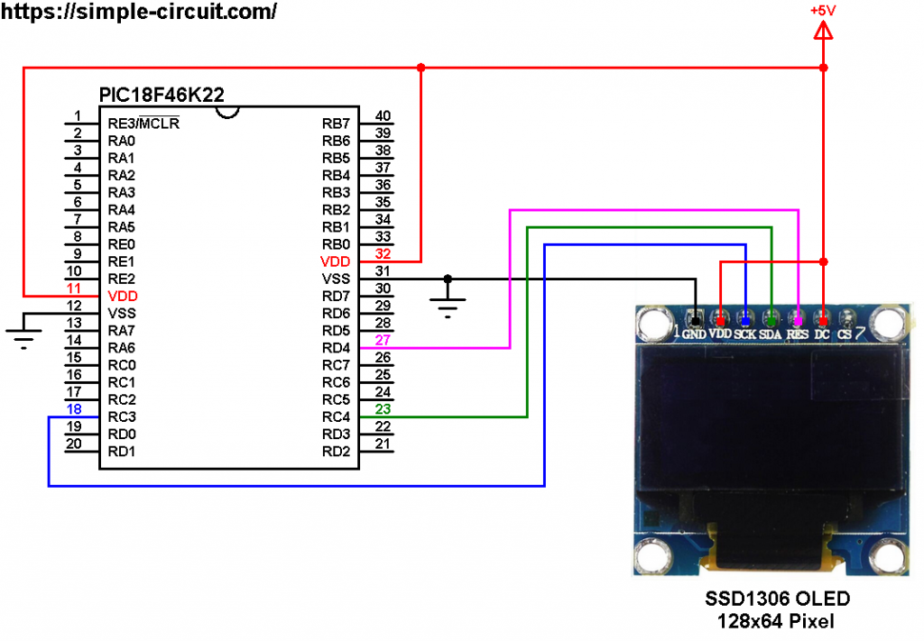 PIC18F46K22 SSD1306 OLED display I2C circuit