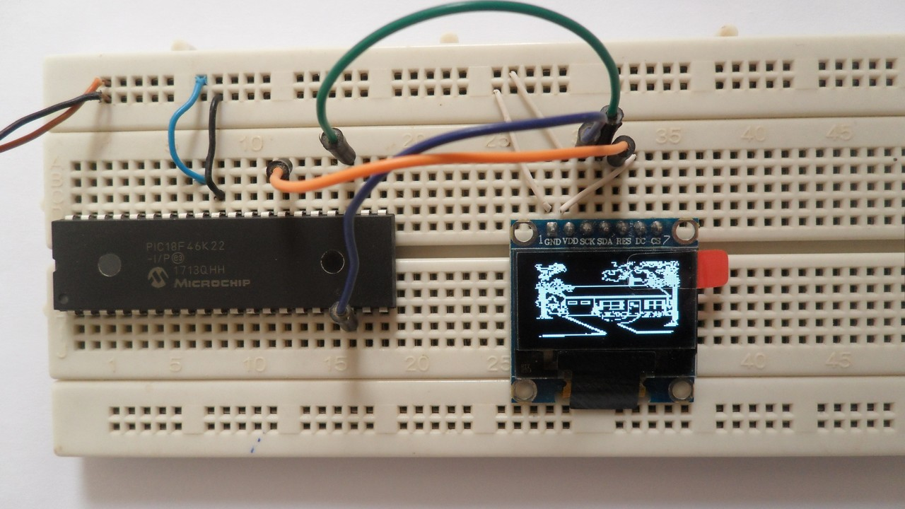 Interfacing PIC18F46K22 with SSD1306 OLED display | mikroC Projects
