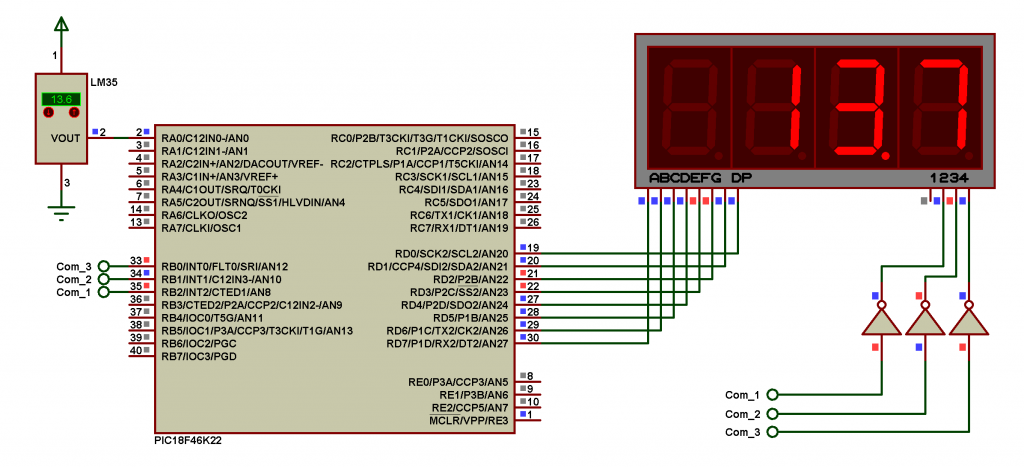 Proteus simulation circuit for PIC18F46K22 with LM35 sensor and 7-segment display