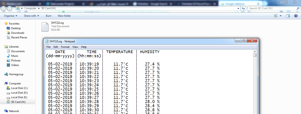 DHT22 temperature and humidity data logger file mikroC