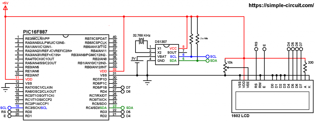 DS1307 PIC16F887 real time clock circuit