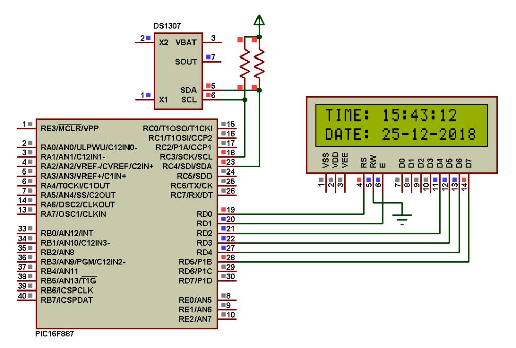 DS1307 PIC16F887 Proteus simulation circuit