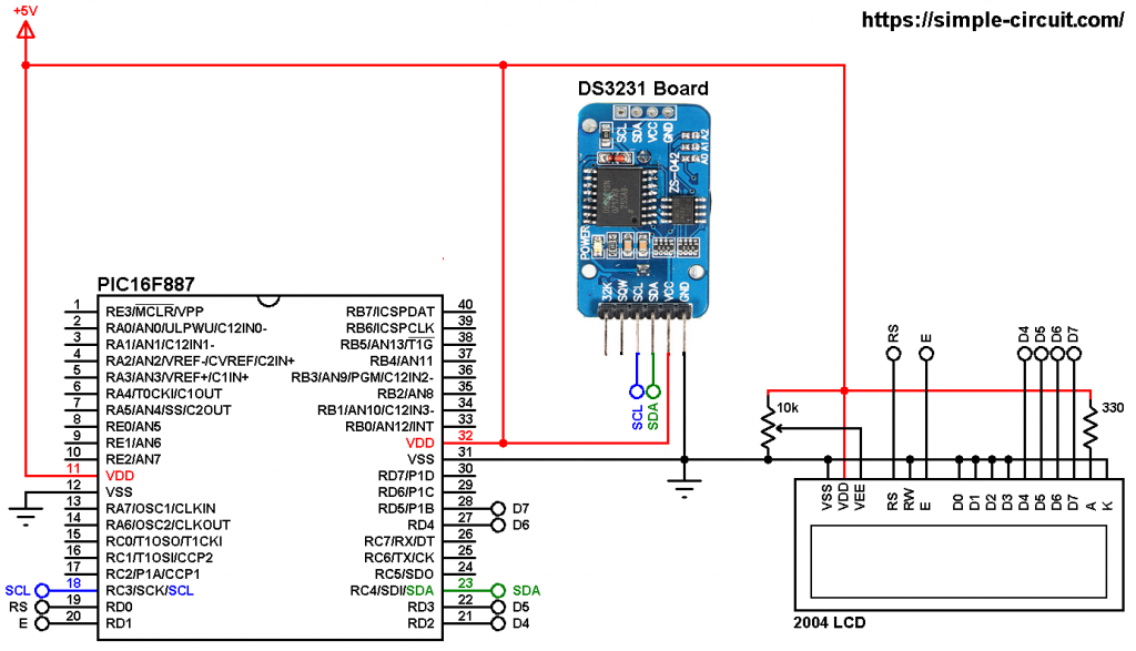 DS3231 PIC16F887 real time clock circuit