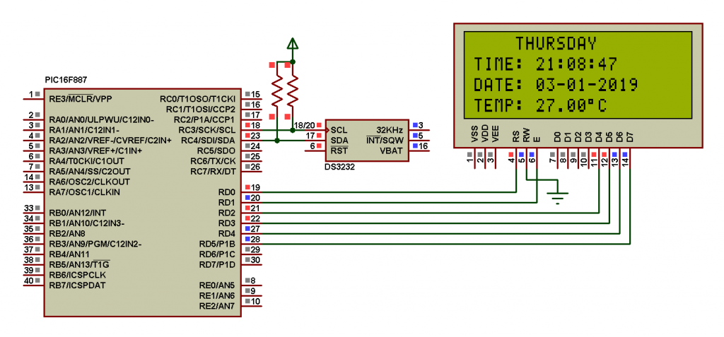 DS3231 (DS3232) PIC16F887 Proteus simulation circuit