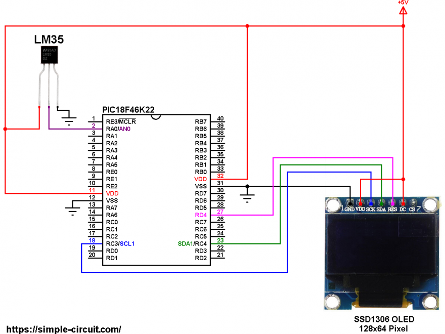 SSD1306 OLED LM35 PIC18F46K22 microcontroller circuit