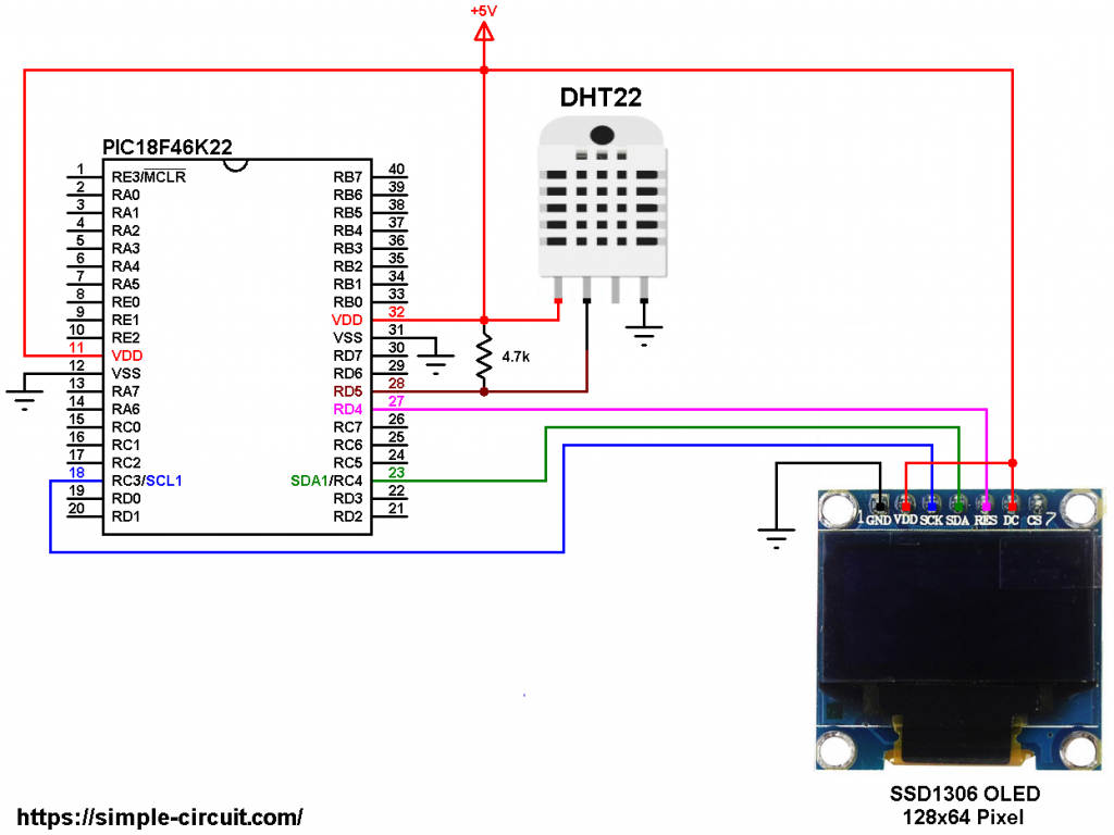 PIC18F46K22 DHT22 AM2302 SSD1306 OLED circuit