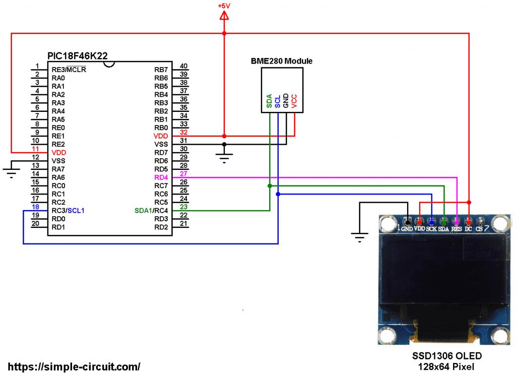 PIC18F46K22 BME280 sensor SSD1306 OLED circuit