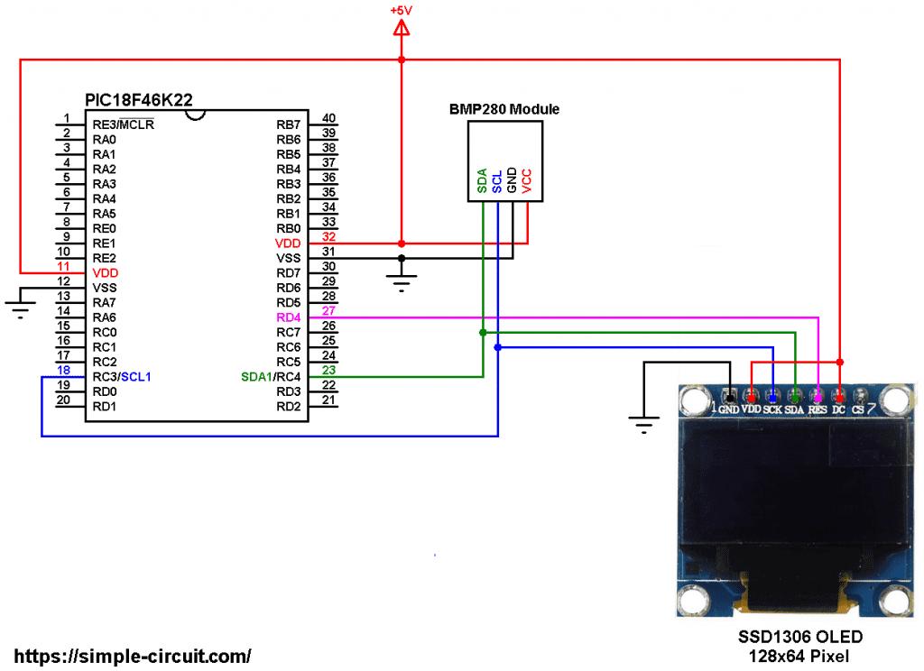 PIC18F46K22 BMP280 sensor SSD1306 OLED circuit