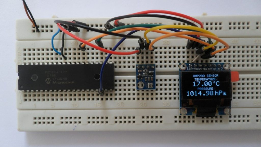 PIC18F46K22 MCU with BMP280 sensor and SSD1306 OLED display