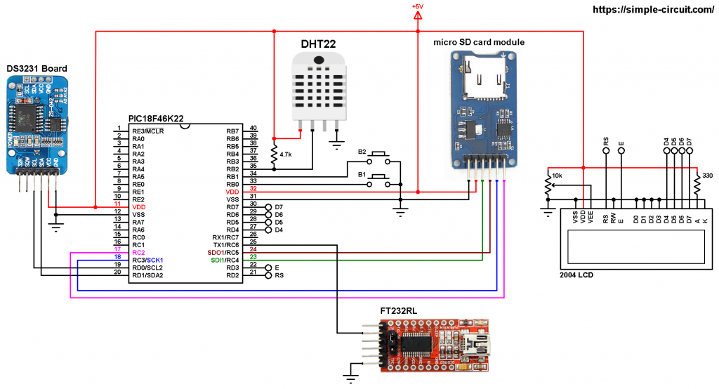 PIC18F46K22 DHT22 SD card DS3231 data logger for temperature and humidity