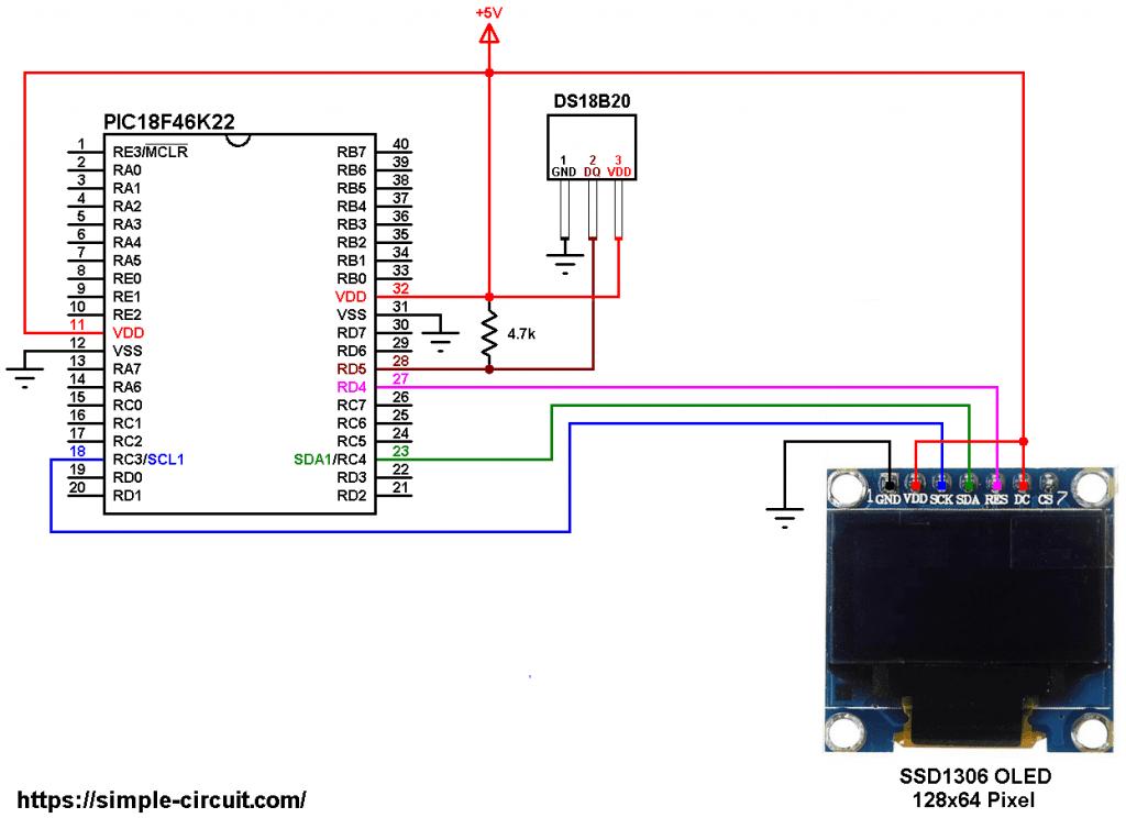 PIC18F46K22 DS18B20 SSD1306 OLED circuit