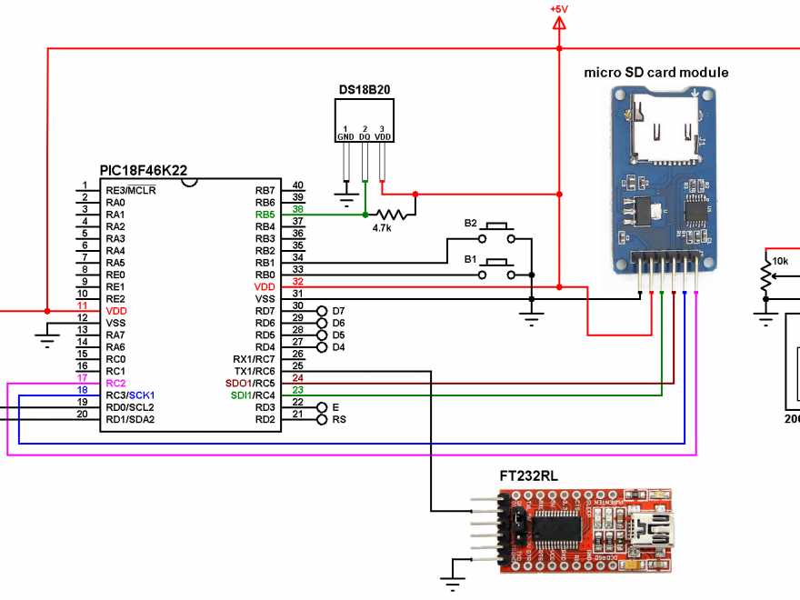 PIC18F46K22 DS18B20 data logger with SD card and DS1307 RTC