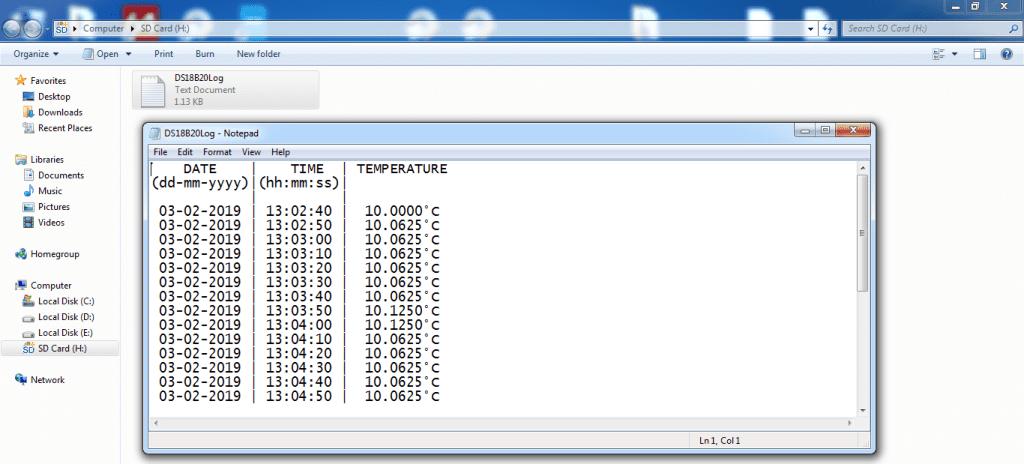 DS18B20 data logger SD card file