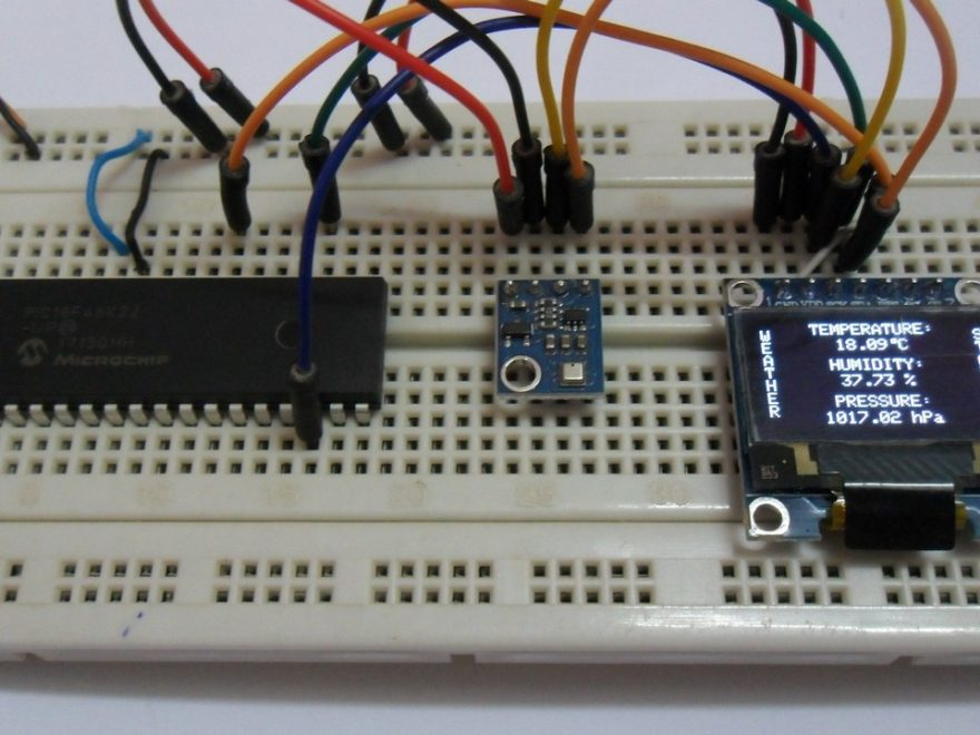 Weather station circuit using PIC18F46K22, BME280 and SSD1306