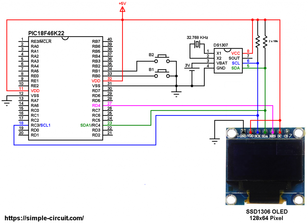 SSD1306 OLED DS1307 PIC18F46K22 circuit