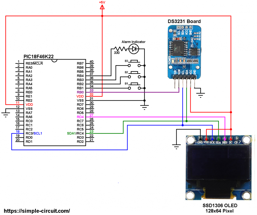 SSD1306 OLED DS3231 PIC18F46K22 with alarm and set buttons circuit