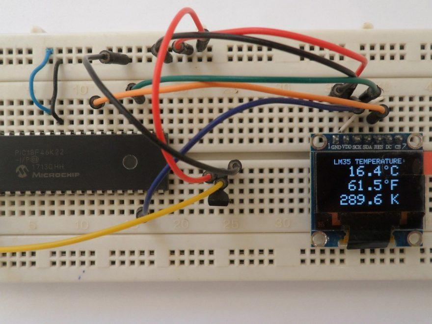 LM35 SSD1396 OLED PIC18F46K22 circuit