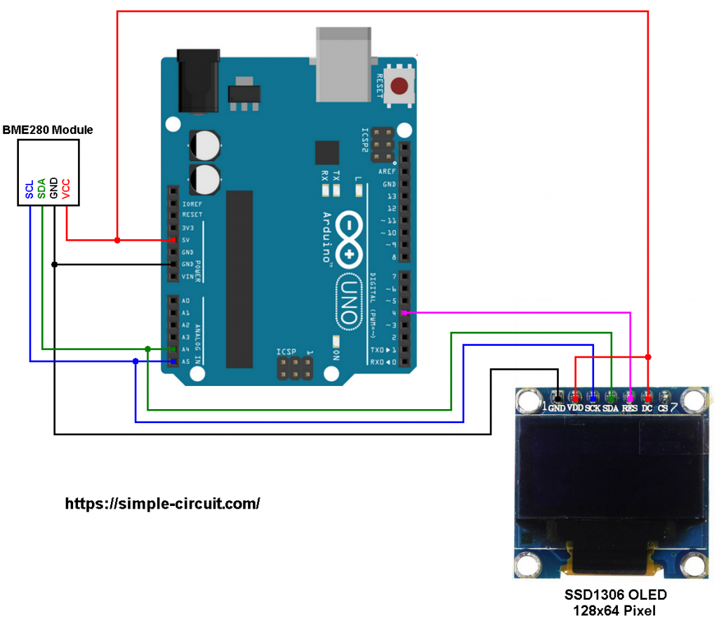 Arduino BME280 SSD1306 OLED circuit