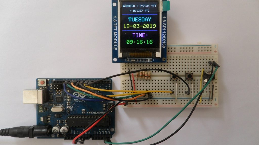 Arduino with ST7735S SPI TFT display and DS1307 RTC