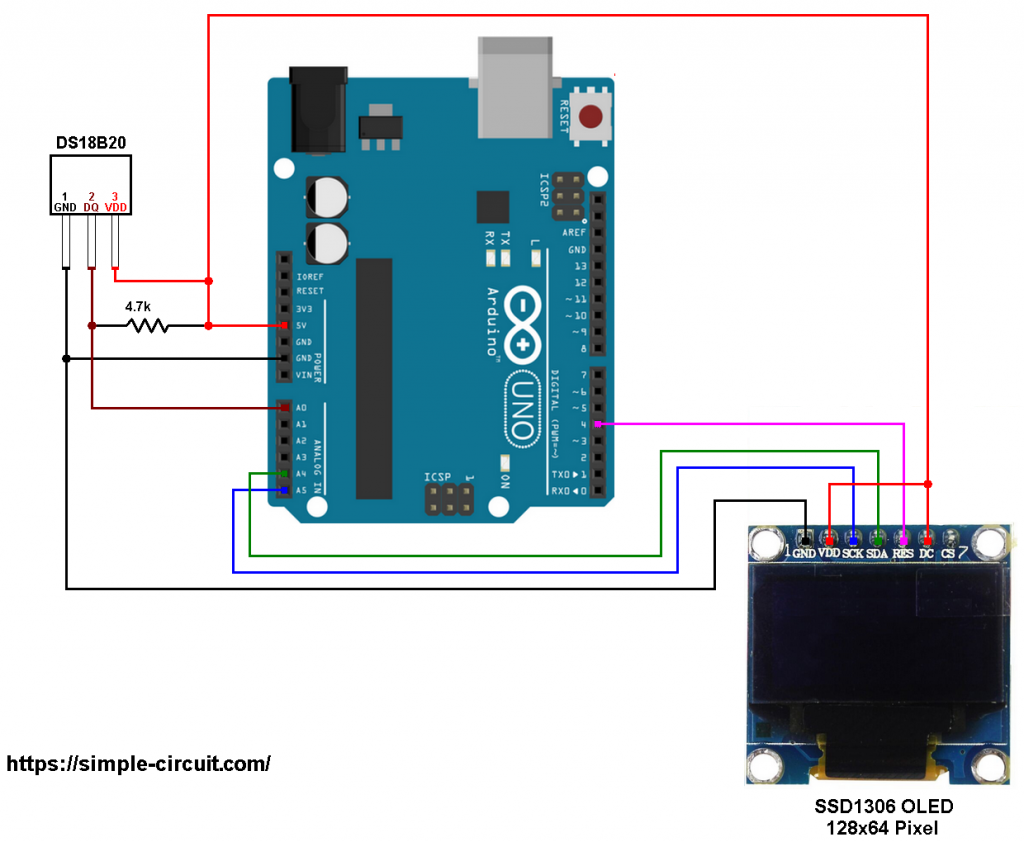 Arduino DS18B20 SSD1306 OLED temperature station circuit