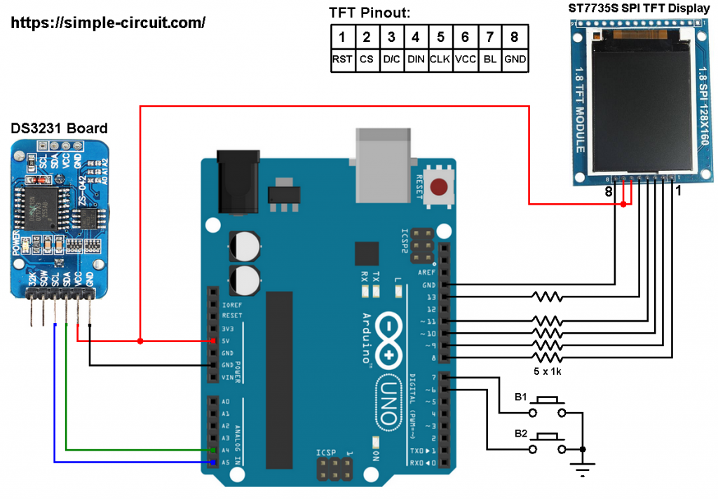 Arduino DS3231 ST7735 color TFT circuit