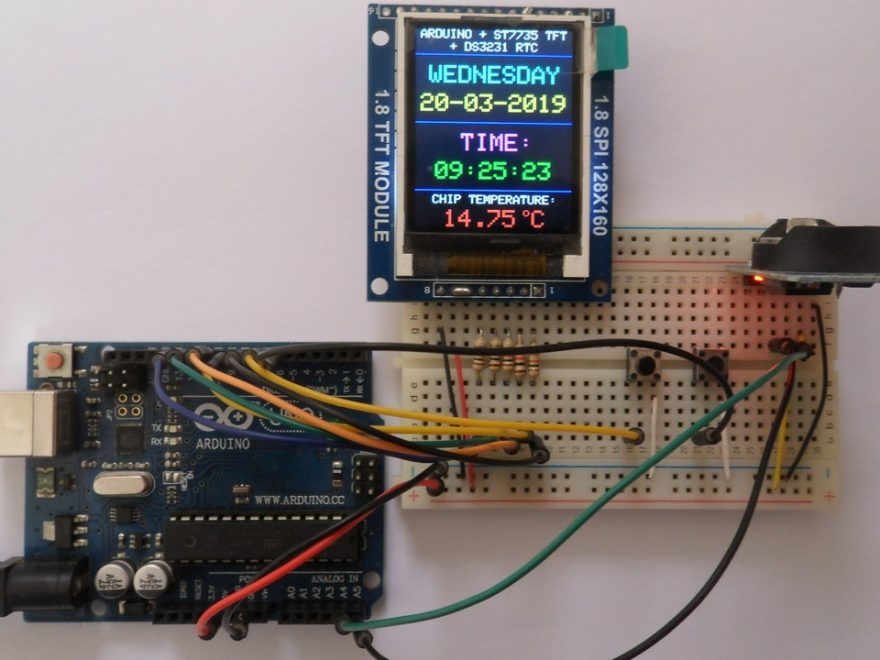 Arduino with ST7735S TFT display and DS3231 RTC module