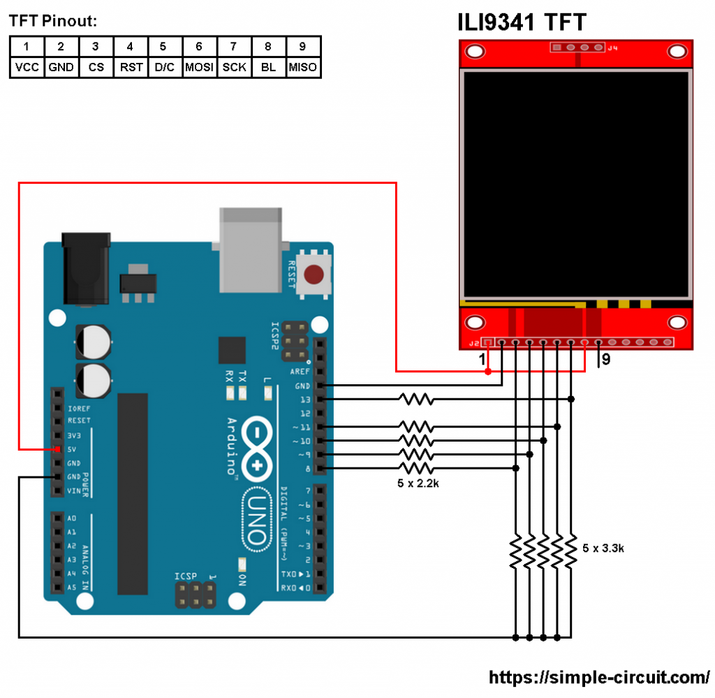 Arduino ILI9341 color TFT display interfacing circuit