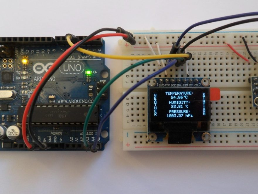 Arduino weather station with SSD1306 OLED display and BME280 sensor