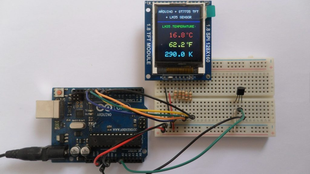 Arduino UNO with ST7735 color display and LM35 temperature sensor