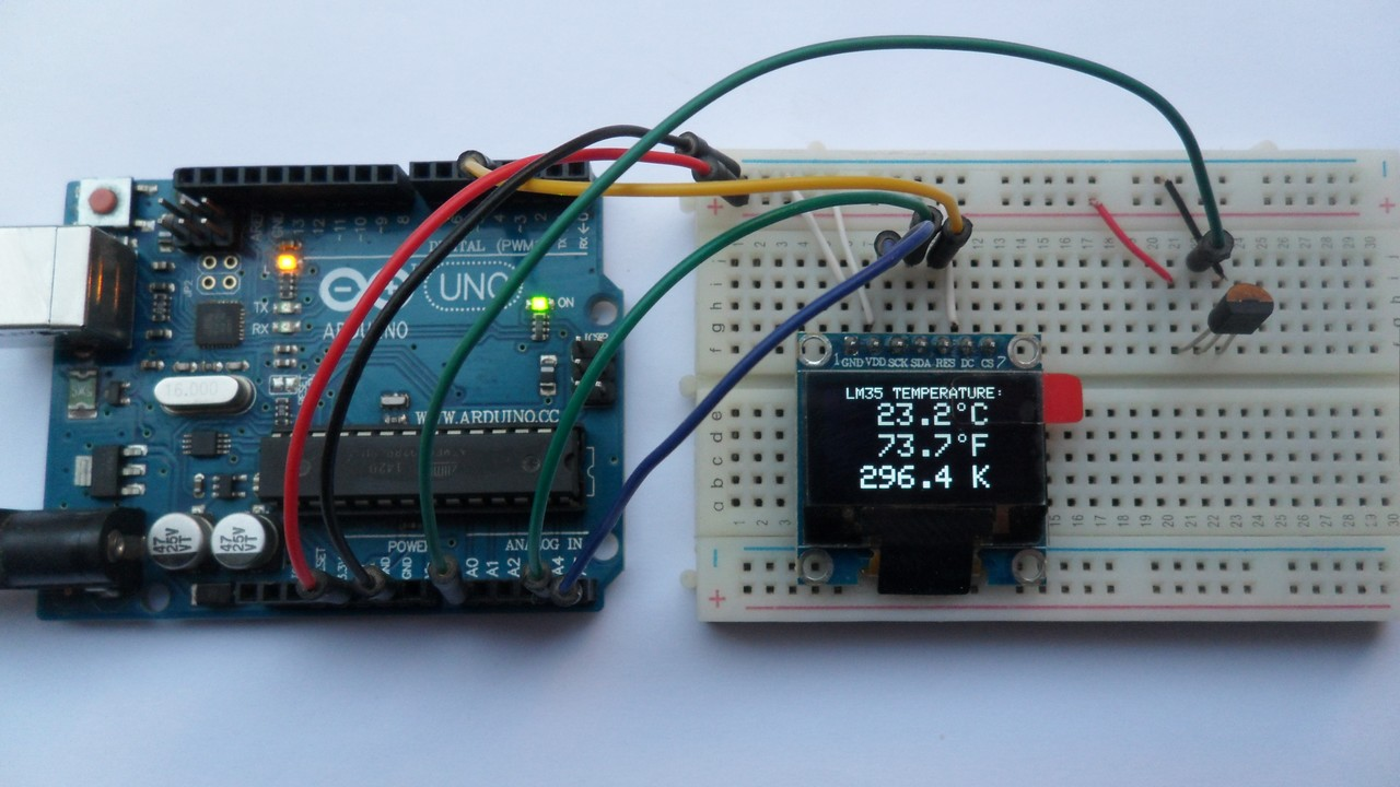 Arduino with SSD1306 OLED display and LM35 temperature sensor