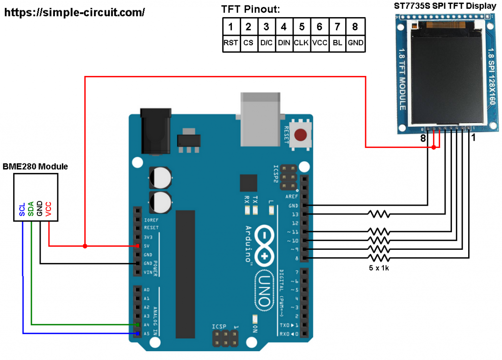 BME280 Arduino ST7735 color TFT display circuit