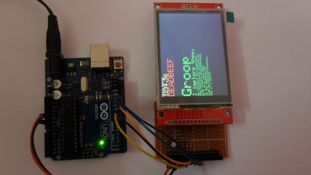 Arduino uno with ILI9341 TFT display