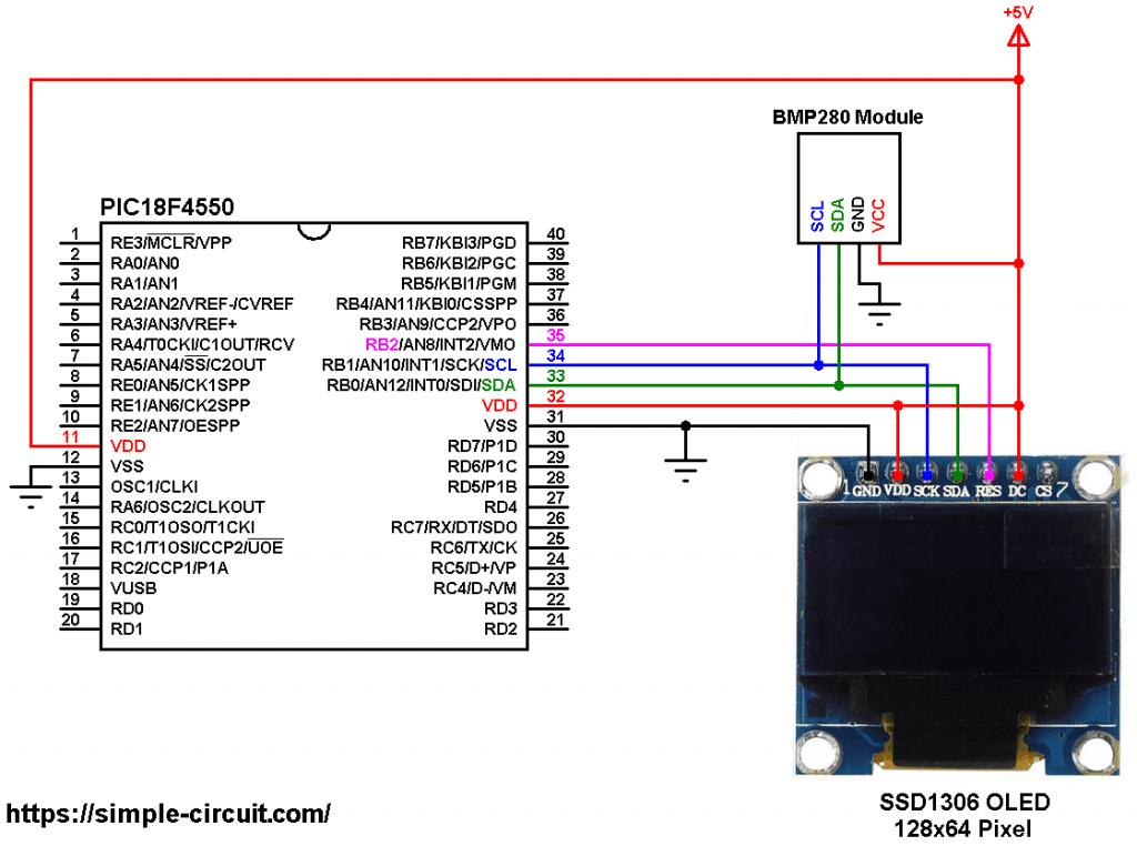 BMP280 PIC18F4550 SSD1306 OLED circuit