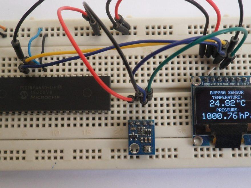 PIC18F4550 MCU with BMP280 sensor and SSD1306 OLED display