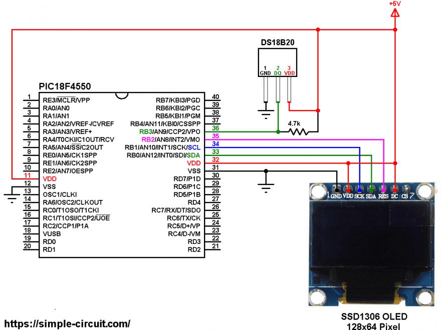PIC18F4550 DS18B20 sensor SSD1306 OLED