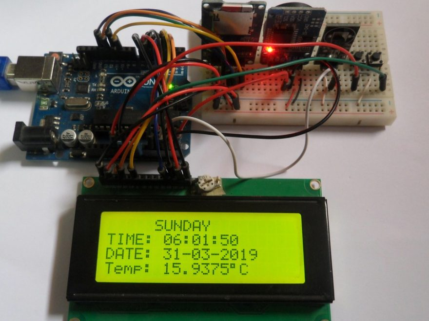 Arduino data logger with SD card, DS18B20 sensor, DS3231 RTC and 20x4 LCD