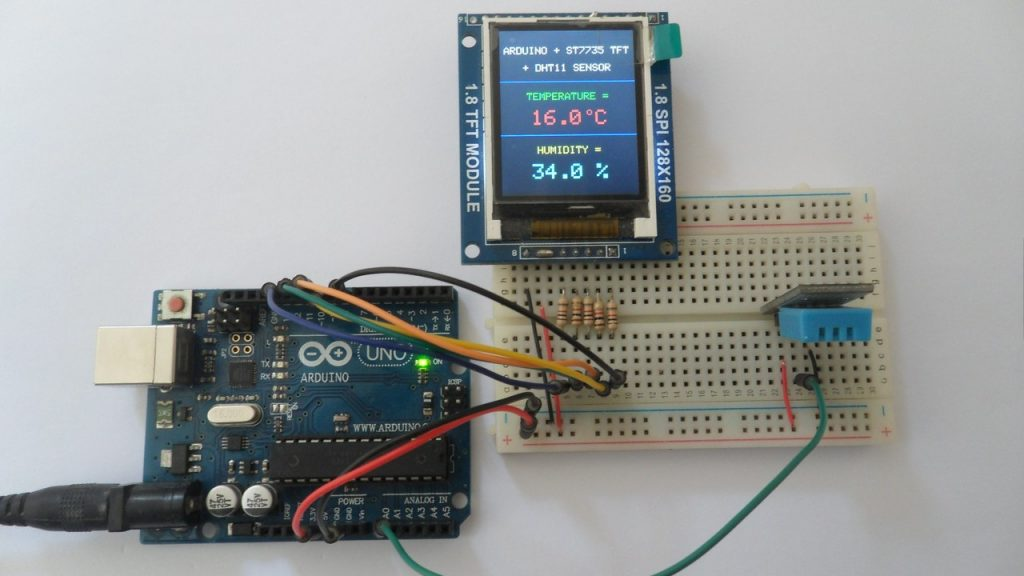 Arduino with ST7735S TFT and DHT11 humidity and temperature sensor