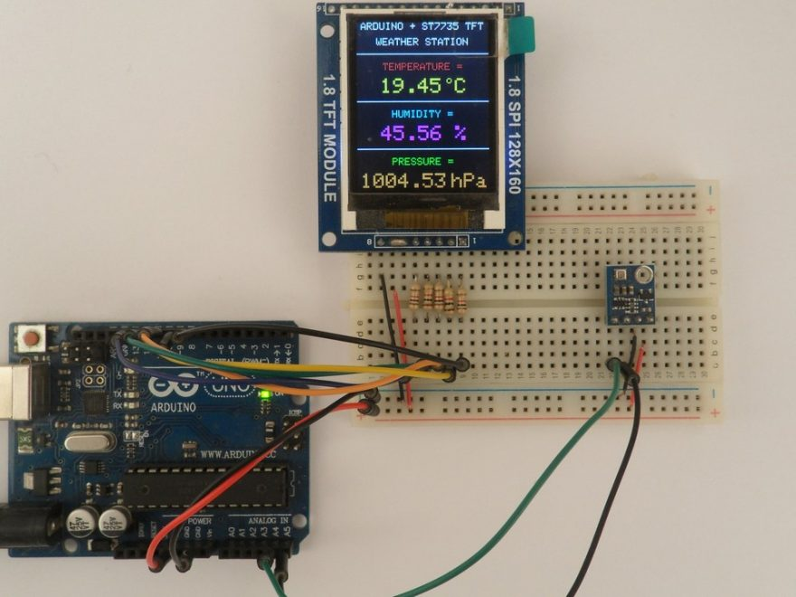 Arduino weather station BME280 sensor ST7735S TFT