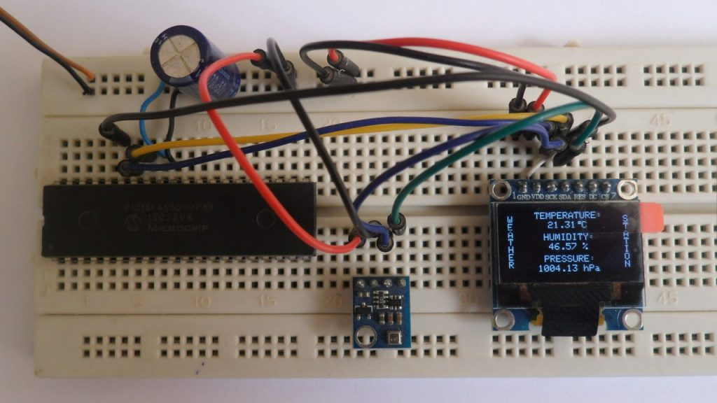 Weather station using PIC18F4550, BME280 sensor and SSD1306 OLED