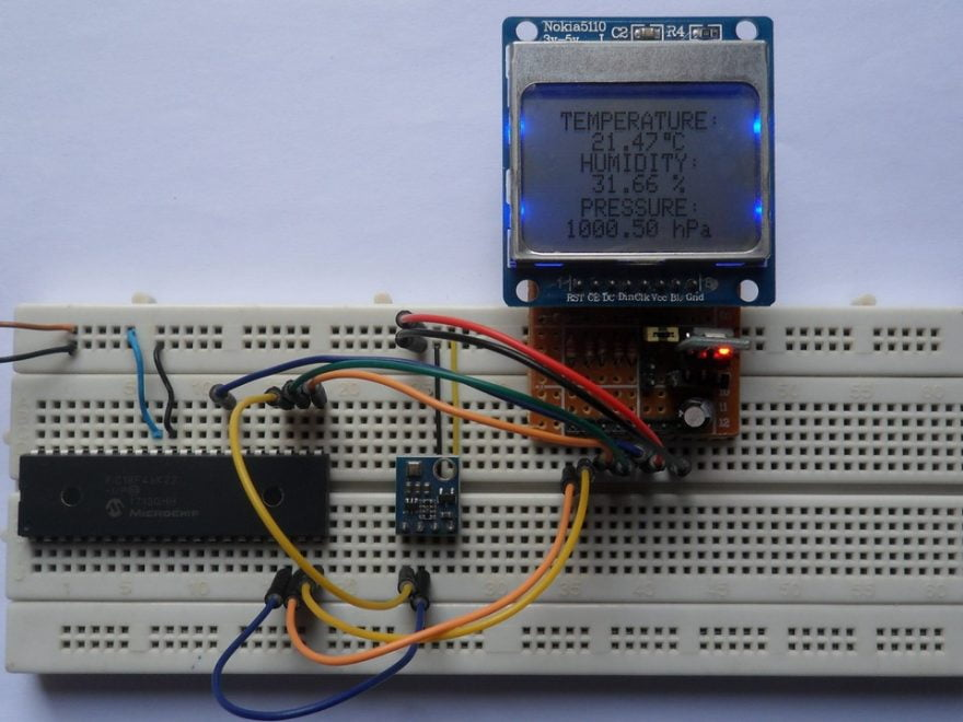 PIC18F46K22 MCU with Nokia 5110 LCD and BME280 sensor